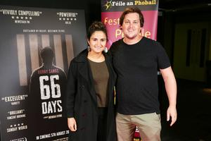 Loretta Van der horst and Marco bij le Veld pictured at the film premiere of Bobby Sands: 66 Days at the Omniplex Cinema at the Kennedy Centre in west Belfast.  The premiere was hosted with Féile An Phobail and West Belfast Film Festival.  Photo by Kelvin Boyes  / Press Eye