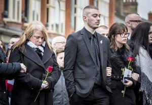 Vera, Ryan and Toni Ogle as The funeral of Ian Ogle take place in east Belfast on February 4th 2019 (Photo by Kevin Scott for Belfast Telegraph)