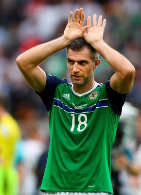 PARIS, FRANCE - JUNE 21: Aaron Hughes of Northern Ireland during the UEFA EURO 2016 Group C match between Northern Ireland and Germany at Parc des Princes on June 21, 2016 in Paris, France. (Photo by Charles McQuillan/Getty Images)