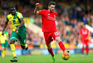 NORWICH, ENGLAND - JANUARY 23: Adam Lallana of Liverpool in action during the Barclays Premier League match between Norwich City and Liverpool at Carrow Road on January 23, 2016 in Norwich, England.  (Photo by Clive Mason/Getty Images)