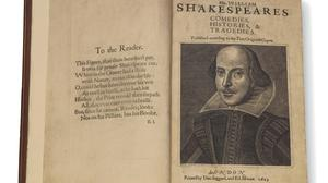 William Shakespeare's First Folio, printed in 1623 (Christie's Images Ltd/PA)