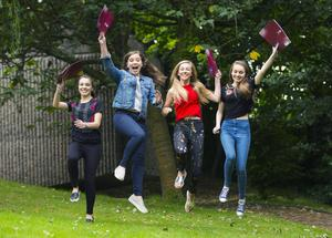 A-Level results day 2016 - Elizabeth Brush, Tara  Fry , Jessica Sutton and Eve Bannon of Victoria Collage on the 18th August 2016, Belfast , Northern Ireland ( Photo by Kevin Scott / Belfast Telegraph )