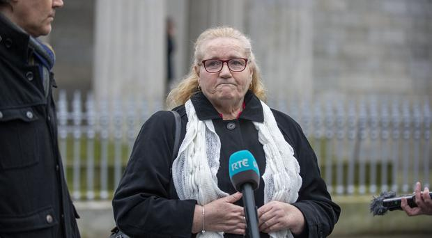 Ruth Maguire's mother Geraldine Worthington is pictured outside court in Dundalk after her daughter's inquest today. Ruth's body was found in the water between Carlingford and Greenore in Co Louth after she had attended a hen party in Carlingford in March. Picture Ciara Wilkinson