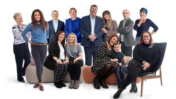 (L-R) Dr Carol Wilson, NICHS board member and consultant cardiologist, artist Aly Harte, Dr Aaron Peace cardiologist, The Undertones drummer Billy Doherty, Sean Patterson and daughter Laura, Rowley Davidson, Cathy McMullan. Front row: Louise McGreevy and niece Chloe Shaw; Keri Degnan and son Joe and Ashleen Poland; JMK Solicitors