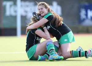The Belfast Telegraph Senior Schools Cup Final - Sullivan Upper v Banbridge at Lisnagarvey Hockey Club. Katherine McKee and Zara Malseed of Sullivan celebrate at the end of the game.  Presseye