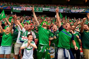 PARIS, FRANCE - JUNE 21: Northern Ireland fans during the UEFA EURO 2016 Group C match between Northern Ireland and Germany at Parc des Princes on June 21, 2016 in Paris, France. (Photo by Charles McQuillan/Getty Images)