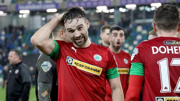 PACEMAKER PRESS BELFAST  21/1/2020  Toals Co. Antrim Shield 2019/20  Cliftonville celebrations after tonight's win over Ballymena United at Windsor Park.  Photo Laura Davison/Pacemaker Press