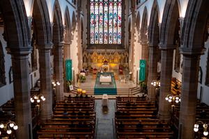 The funeral of John Hume at St Eugene's Cathedral in Londonderry. PA Photo. Picture date: Wednesday August 5, 2020. Hume was a key architect of Northern Ireland's Good Friday Agreement and was awarded the Nobel Peace Prize for the pivotal role he played in ending the region's sectarian conflict. He died on Monday aged 83, having endured a long battle with dementia. See PA story FUNERAL Hume. Photo credit should read: Stephen Latimer/PA Wire