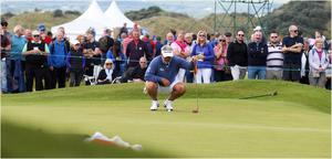 PACEMAKER BELFAST  05/07/2017 Wednesday is the PRO AM at the Dubai Duty Free Irish Open at Portstewart Golf Club. Local hero Darren Clarke on the putting green