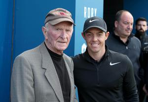 Press Eye - Belfast - Northern Ireland - 5th July 2017   Rory Mcliroy meets with Harry Gregg at the Dubai Duty Free Irish Open Hosted by the Rory Foundation Invitational Pro-Am at Portstewart Golf Club, Co.Derry / Co. Londonderry, Northern Ireland.  Picture by Matt Mackey / presseye.com
