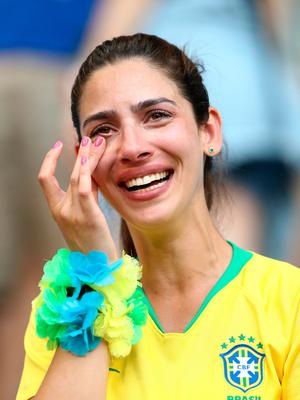 SAMARA, RUSSIA - JULY 02:  A Brazil fan celebrates victory following the 2018 FIFA World Cup Russia Round of 16 match between Brazil and Mexico at Samara Arena on July 2, 2018 in Samara, Russia.  (Photo by Ryan Pierse/Getty Images)