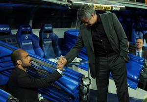 FILE - JUNE 02, 2013:  Jose Mourinho has been confirmed as Chelsea FC manager, returning to the club for a second term in charge, having left the club in 2007. MADRID, SPAIN - APRIL 16: Barcelona manager (L) Josep Guardiola shakes hands with head coach Jose Mourinho of Real Madrid before the start of the La Liga match between Real Madrid and Barcelona at Estadio Santiago Bernabeu on April 16, 2011 in Madrid, Spain.  (Photo by Denis Doyle/Getty Images)