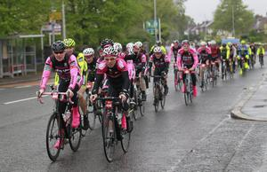 Cyclists make their way along the Antrim road in North Belfast, Northern Ireland, Sunday, May, 4, 2014.  To celebrate the arrival of the Giro d'Italia cyclists took part in a sportive called the Big Italian Bike Ride which took in the route that the Giro will take on Stage 2. The Giro d'Italia starts in Belfast on May 9th with a Time Trial followed by two road stages finishing in Dublin on May 11.  (AP Photo/Peter Morrison)
