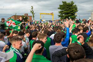 Fans showing their support at the Titanic Fanzone, Belfast as Northern Ireland play Germany in Euro 2016. PRESS ASSOCIATION Photo. Picture date: Tuesday June 21, 2016. Photo credit should read: Liam McBurney/PA Wire