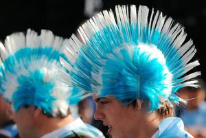 Argentina fans before the Rugby World Cup Pool C match between Argentina and Tonga at the Leicester City Stadium, Leicester, England, Sunday, Oct. 4, 2015. (AP Photo/Rui Vieira)