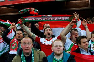 Hungary fans during the UEFA European Championship Qualifying match at Windsor Park, Belfast. PRESS ASSOCIATION Photo. Picture date: Monday September 7, 2015. See PA story SOCCER N Ireland. Photo credit should read: Niall Carsony/PA Wire