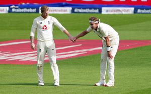 Stuart Broad (right with Ben Stokes) had England within sight of enforcing the follow-on (Jon Super/NMC Pool/PA)