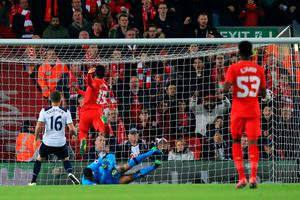 LIVERPOOL, ENGLAND - OCTOBER 25:  Daniel Sturridge of Liverpool (C) scores his sides first goal during the EFL Cup fourth round match between Liverpool and Tottenham Hotspur at Anfield on October 25, 2016 in Liverpool, England.  (Photo by Jan Kruger/Getty Images)