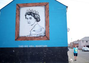 Press Eye - Belfast - Northern Ireland - 21st April 2016 A mural on Rockview Street in the Village area of south Belfast on the day the Queen celebrates her 90th birthday.  Picture by Jonathan Porter/PressEye