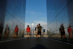 JERSEY CITY, NJ - SEPTEMBER 10:  People walk by the 9/11 memorial in Liberty State Park on September 10, 2014 in Jersey City New Jersey. Tomorrow marks the 13th anniversary of the 9/11 terrorist attacks that claimed the lives of 2,996 people in New York City, Washington, DC and a field in Shanksville, Pennsylvania.  (Photo by Kena Betancur/Getty Images)