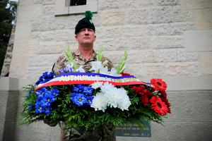 Colour Sergeant Trevor Ross takes delivery of wreaths from the Mayor of Thiepval, at the Ulster Memorial Tower in Thiepval, France, ahead of the Commemoration of the Centenary of the Battle of the Somme. PRESS ASSOCIATION Photo. Picture date: Thursday June 30, 2016. Thousands of soldiers from across Ireland died at the Somme, including many from the 36th Ulster Division on the first day of battle. See PA story HERITAGE Somme NIreland. Photo credit should read: Niall Carson/PA Wire