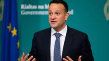 Taoiseach Leo Varadkar during the launch of a public information booklet on coronavirus at Government Buildings in Dublin. PA Photo. Picture date: Wednesday March 25, 2020. The booklet, which was produced jointly between the Government and the HSE, is being delivered free of charge. See PA story HEALTH Coronavirus Ireland. Photo credit should read: Nick Bradshaw/The Irish Times/PA Wire
