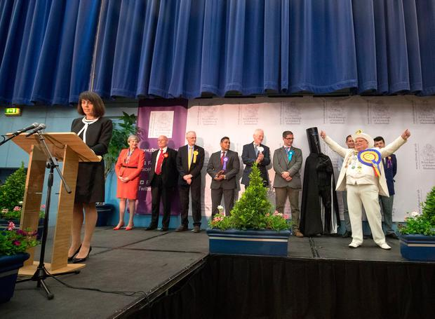 British Prime Minister and Conservative Party leader Theresa May (far left) stands with other candidates at the declaration at the election count at the Magnet Leisure Centre on June 9, 2017 in Maidenhead, England. (Photo by Matt Cardy/Getty Images)