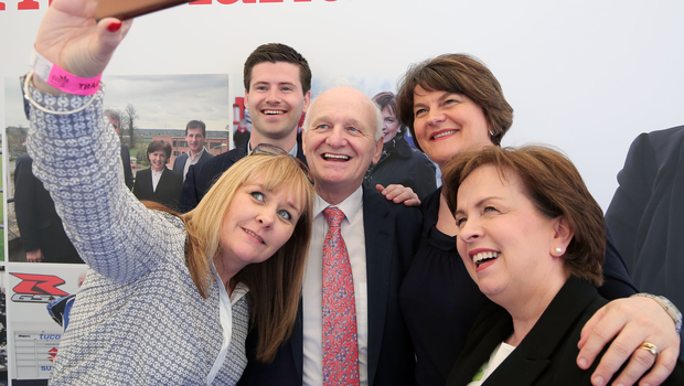Rev William McCrea with DUP party leader Arlene Foster, Michelle McIlveen, Jonathan Buckley and Diane Dodds at the Balmoral Show yesterday