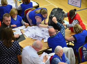 Pacemaker Press Belfast 06-05-2016: NI Assembly election: East & South Antrim count at Valley Leisure Centre Glengormley. The process of counting votes in the Northern Ireland Assembly election has begun. Two hundred and seventy-six candidates are competing for 108 seats across Northern Ireland's 18 constituencies. The votes first have to be verified - checking that the same number of papers are inside the ballot boxes as those given out by polling station staff. Picture By: Arthur Allison.