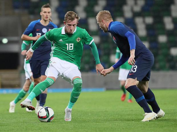 Pacemaker Belfast 16-10-18 Northern Ireland v Slovakia - UEFA Euro U21 Qualifier Northern Ireland's Alistair Roy and Slovakia's Michal Siplak during this evenings game at the National Stadium, Belfast.  Photo by David Maginnis/Pacemaker Press