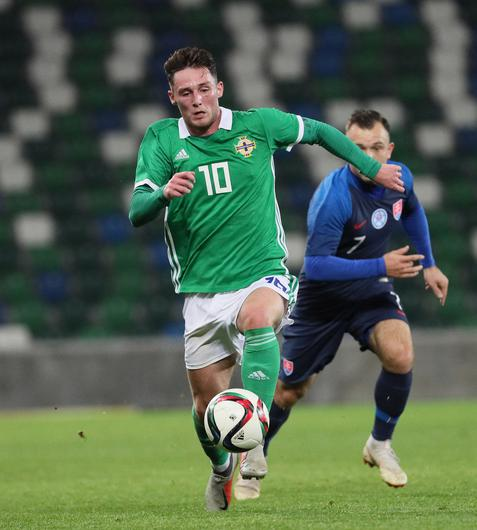 Pacemaker Belfast 16-10-18 Northern Ireland v Slovakia - UEFA Euro U21 Qualifier Northern Ireland's Jordan Thompson and Slovakia's Miroslav Kacer during this evenings game at the National Stadium, Belfast.  Photo by David Maginnis/Pacemaker Press
