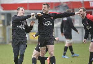 Feeling good: Craig Gilroy and Tommy Bowe, set to make his first Ulster appearance this season, warm-up for Zebre