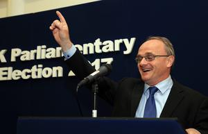 Press Eye - Belfast - Northern Ireland - 8th June 2017 - Westminster General Election 2017. Barry McElduff celebrates  at the election count at Omagh Leisure Complex Omagh for West Tyrone and Fermanagh & South Tyrone.Photo by John McVitty / Press Eye.