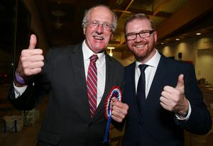 PressEye-Northern Ireland- 8th June 2017-Picture by Brian Little/PressEye   Jim Shannon (DUP) winner of  Strangford  with his electoral agent Simon Hamilton  during the  2017 Westminster Election  count at Aurora Leisure Complex, Bangor.  Picture by Brian Little/PressEye
