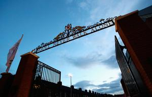 LIVERPOOL, ENGLAND - OCTOBER 17:  A general view of the Shankly gates outside the stadium before the Premier League match between Liverpool and Manchester United at Anfield on October 17, 2016 in Liverpool, England.  (Photo by Clive Brunskill/Getty Images)