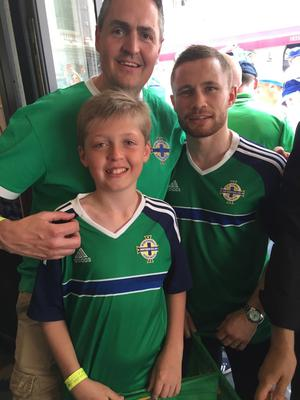 Mark Jones and son Jack in Nice with Carl Frampton