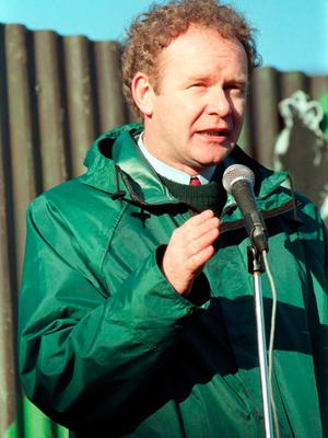 File photo dated 27/08/95 of Sinn Fein's Martin McGuinness addressing a Republican rally in Pomeroy, Co Tyrone.  PA Wire
