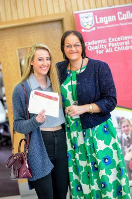 PACEMAKER BELFAST   13/08/15  Students from Lagan College Belfast receive their results today.  With an impressive number of A* & A results.  Pictured Emma Rea with her Teacher  Photo: Pacemaker Press