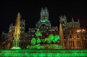 The Cibeles Fountain and Palacio de Comunicaciones in Madrid, illuminated in green as part of Tourism Ireland's Global Greening initiative, to celebrate the island of Ireland and St Patrick.