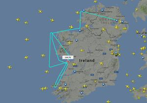 A United Airlines flight from Belfast to Newark has made an emergency diversion to Shannon Airport. Pic - Flightradar24.com