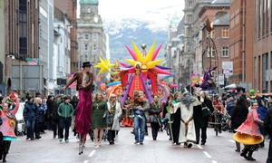 FLASHBACK TO 2013: St Patrick himself leads the annual parade from Belfast City Hall. Pic Charles McQuillan