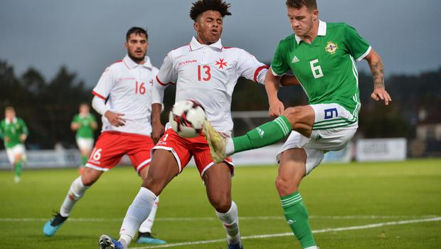 Pacemaker Press 6/09/19 Northern Ireland  v Malta U21 Euro Qualifier  N Ireland's Jake Dunwoody     and Malta's Zachary Grech during this evening's game at the Ballymena Showgrounds.  Pic Colm Lenaghan/Pacemaker