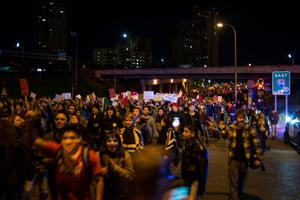MINNEAPOLIS, MN - NOVEMBER 10: Protesters of President-elect Donald Trump march down the Cedar Avenue on November 10, 2016 in Minneapolis, Minnesota. Thousands of people across the country have taken to the streets in protest in the days following the election of Republican Donald Trump over Democrat Hillary Clinton. (Photo by Stephen Maturen/Getty Images)