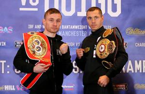 Carl Frampton (left) and Scott Quigg go head to head after a press conference at the Radisson Blu Hotel, Manchester. Simon Cooper/PA Wire.