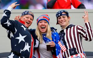USA fans show their support in the stands before the World Cup match at the Olympic Stadium, London.