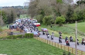 Pacemaker Belfast 27-4-17 Dario Cecconi Lap of Honour - Tandragee 100  Italian road racer Dario Cecconi's remains are escorted around the Tandragee 100 circuit by motorcyclists and road race supporters in tribute to the young Italian racer, who sadly passed away following an accident at the Tandragee 100 last Saturday.  Photo by David Maginnis/Pacemaker Press