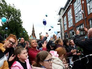 PACEMAKER PRESS BELFAST 28/6/2020 A vigil at Saint MalachyÕs College for Noah Donohue, who tragically lost his life after going missing last Sunday. NoahÕs family, friends and search and rescue volunteers were present.  Photo Pacemaker Press