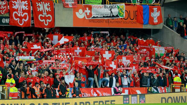 Switzerland's fans in action during the World Cup qualifying playoff at Windsor Park on November 9th 2017   (Photo by Kevin Scott / Belfast Telegraph)