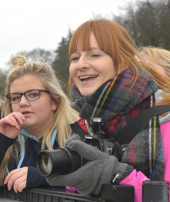 Mandatory Credit: Rowland White / PressEye Belfast Telegraph Schools' Cup Semi-Finals FANS PICTURES Venue: Lisnagarvey Date: 11th February 2015 Caption: happy snapper