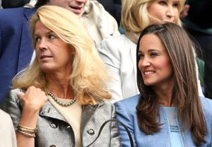 LONDON, ENGLAND - JUNE 24:  (L-R) Mariann Byerwalter, Pippa Middleton and James Middleton watch the Gentlemen's Singles first round match between Andy Murray of Great Britain and Benjamin Becker of Germany on day one of the Wimbledon Lawn Tennis Championships at the All England Lawn Tennis and Croquet Club on June 24, 2013 in London, England.  (Photo by Clive Brunskill/Getty Images)